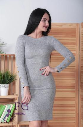 Платье ангоровое серое с пуговицами на рукавах Перрис, фото 2