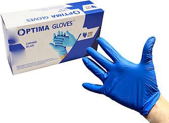 Перчатки медицинские нитриловые неопудренные Optima Gloves L (Синие)