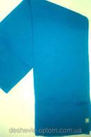 Стильный однотонный вязаный шарф цвет голубой