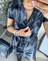 "Кожаное платье-рубашка ""KOMO"" с коротким рукавом, фото 3"