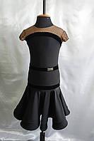 Рейтинговое платье б/у для бальных танцев, размер 34-36, черный бифлекс и бархат