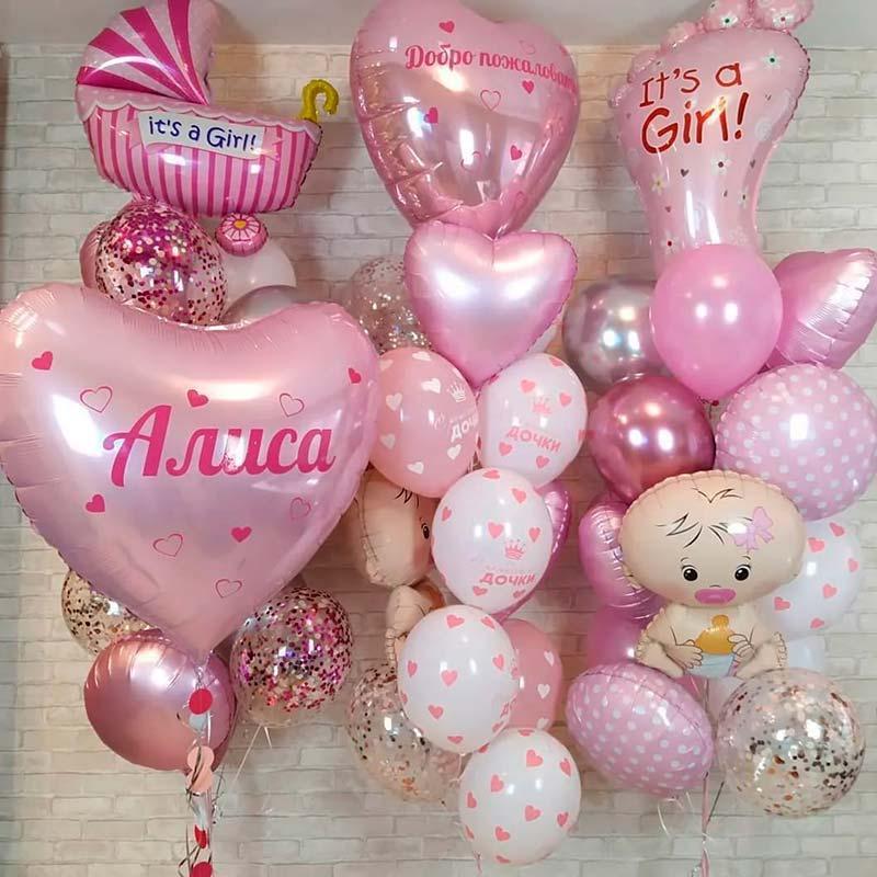 Повітряні кульки на виписку для дівчинки