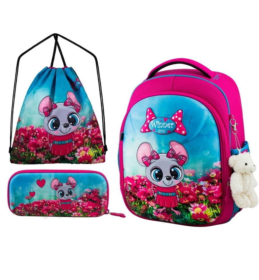 Шкільний ранець для дівчинки 1-3 клас з пеналом і сумкою для взуття Мишка Winner One 6010 29*36 см