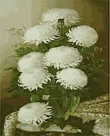 Картины по номерам Белые цветы в стеклянной вазе