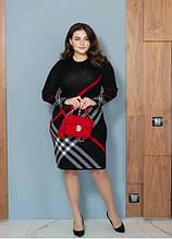 Модне плаття батал Призма чорний + червоний (46-60)