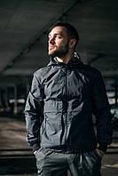 """Куртка мужская демисезонная  Intruder """"Sprinter"""" с капюшоном, стильная молодежная ветровка серая, фото 1"""