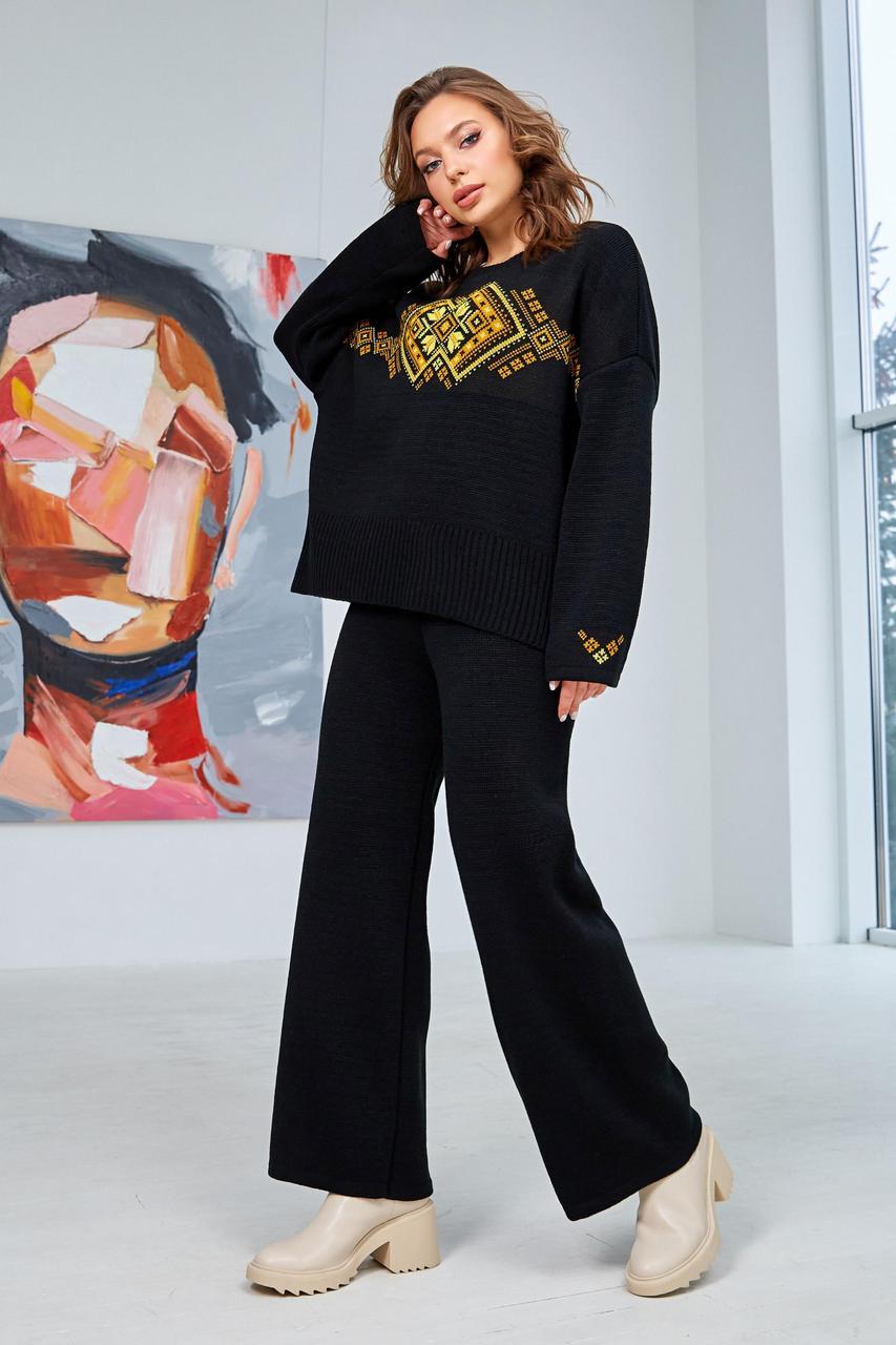 Оригинальный женский тёплый брючный костюм с узором,  размер оверсайз 44-50