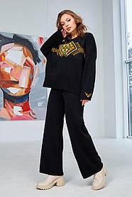 Оригінальний жіночий теплий брючний костюм з візерунком, розмір оверсайз 44-50