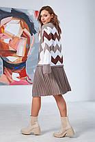 """Комфортный женский костюм юбочный с принтом """"зигзаг"""" цвет капучино,  размер оверсайз 42-50, фото 3"""