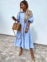 Платье женское с длинным рукавом 100% коттон  новинка 2021, фото 1