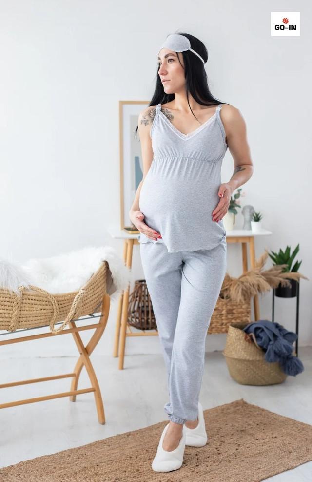 Жіночий набір халат з піжамою для вагітних і годуючих мам сірий ї