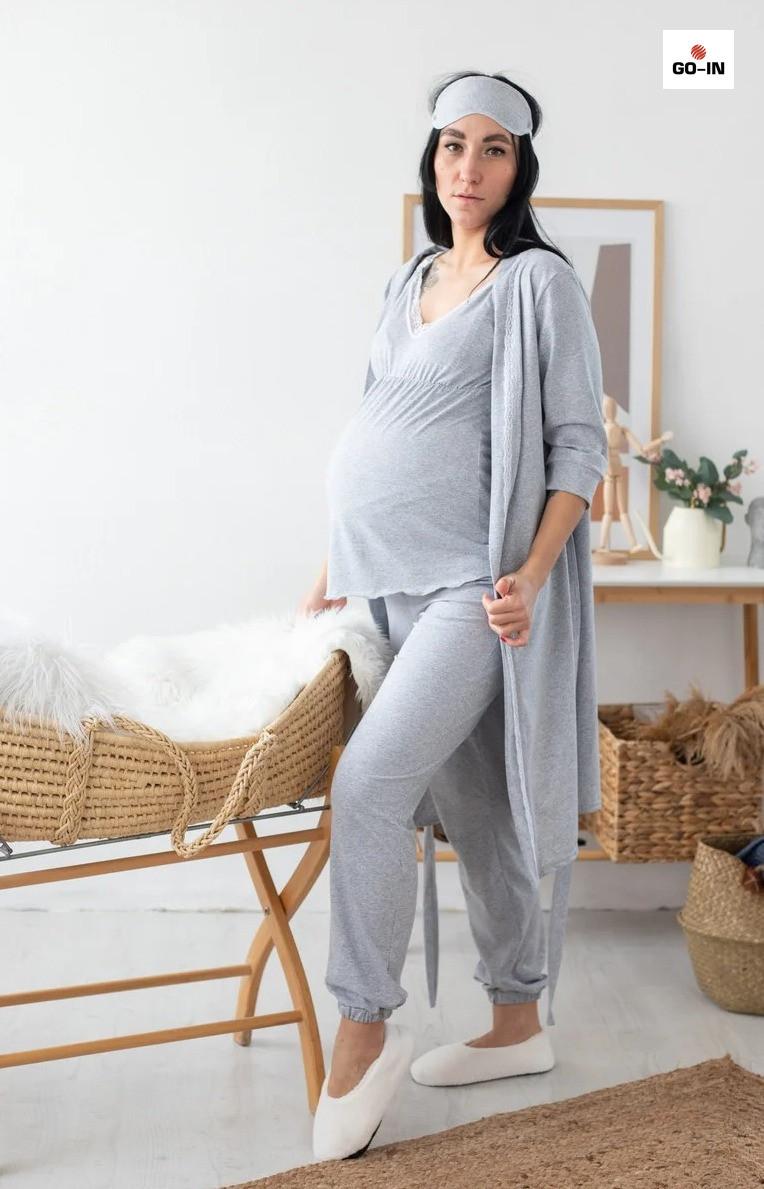 Жіночий набір халат з піжамою для вагітних і годуючих мам сірий р. 44-52