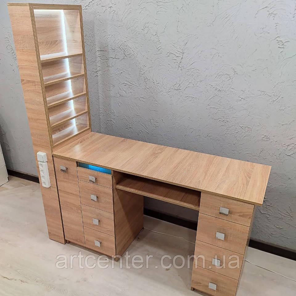 Пересувний стіл для манікюру сірого кольору