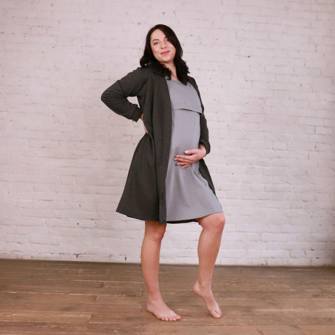 Комплект 2в1 халат и ночная рубашка для беременных