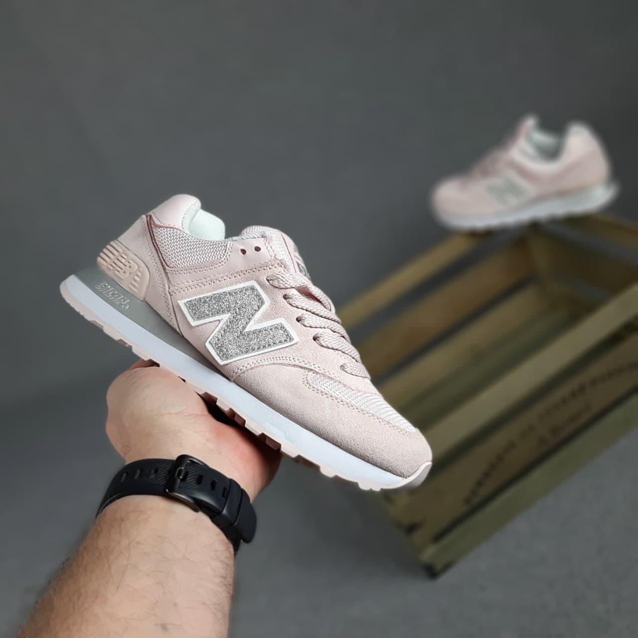 Кроссовки New  Balance 574   Бледно розовые серебристая N 37-41