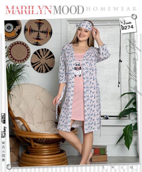 Комплект халат з піжамою і сорочкою LADY LINGERIE 13856