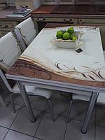 """Розкладний стіл обідній кухонний комплект стіл і стільці 3D малюнок 3д """"Коричневий завиток"""" ДСП скло 60*90 Лотос-М"""