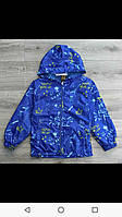 Куртка ветровка на для мальчика на 1-4 лет синего, серого, молочного цвета с капюшоном  оптом, фото 1