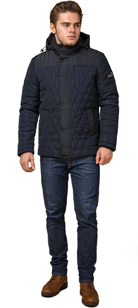 Стильная зимняя куртка мужская синяя модель 30538