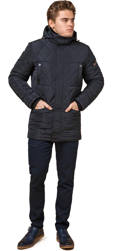 Темно-синяя мужская куртка с воротником зимняя модель 44842 (ОСТАЛСЯ ТОЛЬКО 48(M))