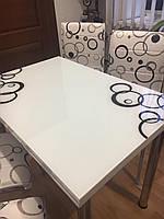 """Раскладной стол обеденный кухонный комплект стол и стулья 3D рисунок 3д """"Круги черные"""" стекло 60*90 Mobilgen, фото 1"""