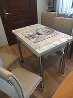 """Розкладний стіл обідній кухонний комплект стіл і стільці 3D малюнок 3д """"Ваза"""" ДСП скло 60*90 Лотос-М"""