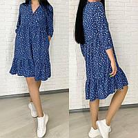 Женское легкое свободное мини платье свободного кроя черное джинс лаванда мята 42-44,46-48, 50-52