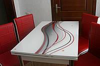 """Раскладной стол обеденный кухонный комплект стол и стулья рисунок 3д """"Красная волна"""" ДСП стекло 60*90 Лотос-М, фото 1"""