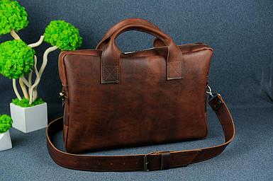 Шкіряна чоловіча сумка Стівен, натуральна шкіра італійський Краст колір коричневий, відтінок Вишня