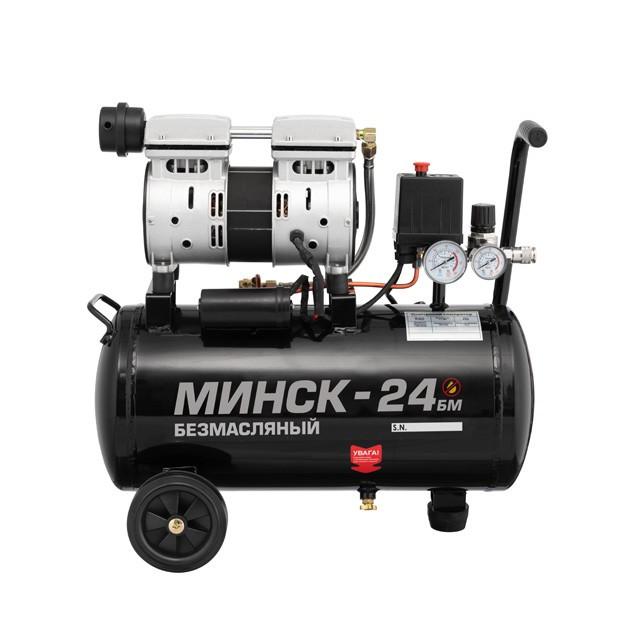 Компрессор Минск-24 БМ, 24л, 1.1 кВт, 220 В, 8 атм, 145 л/мин, малошумный, безмасляный, 2 цилиндра INTERTOOL