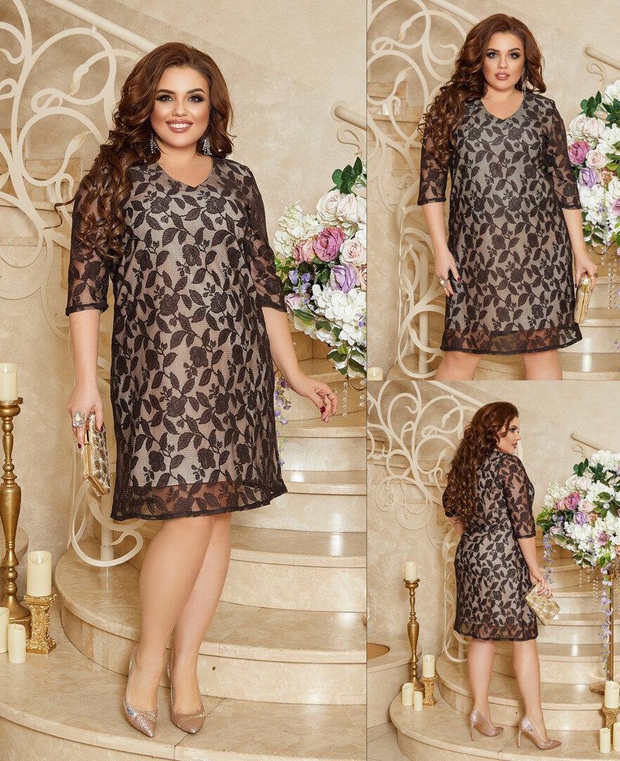 """Шикарное женское платье, ткань """"Кружево на подкладке с напылением"""" 50, 52 размер 50"""