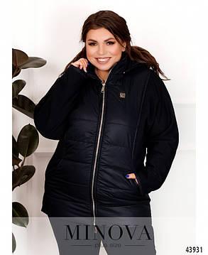 Синя куртка демісезонна простьобаний з тканини з рукавами з трикотажу трехнить, великих розмірів від 52 до 62, фото 2
