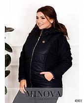 Синя куртка демісезонна простьобаний з тканини з рукавами з трикотажу трехнить, великих розмірів від 52 до 62, фото 3