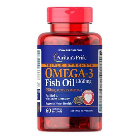 Омега 3, Puritan's Pride Triple Strength Omega-3 1360 mg 60 капсул