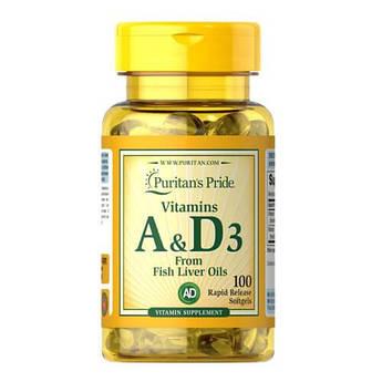 Витамин А и витаминD3, Puritan's Pride Vitamins A & D 5000/400 IU 100 капсул