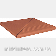 Клинкерная ступень King Klinker Венецианская гладкая угловая деленная Ruby-red (01)