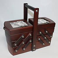 Деревянная шкатулка для рукоделия с фоторамками 453-024