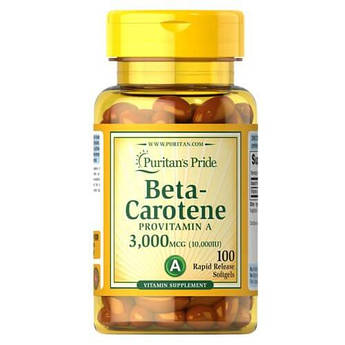 Витамин А, бетакаротин, Puritan's Pride Beta-Carotene 10,000 IU 100 капсул