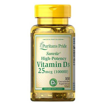 Витамин D3, Puritan's Pride Vitamin D3 25 mcg (1000 IU) 100 капсул