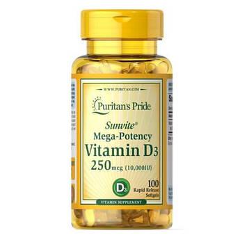 Витамин D3, Puritan's Pride Vitamin D3 10000 IU 100 капсул