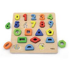 Дерев'яний пазл Viga Toys Цифри і фігури (50119)