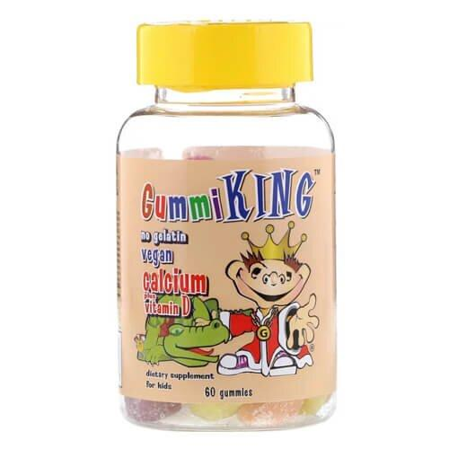 Витамин Д для детей, GummiKing Calcium Plus Vitamin D for Kids 60 gummies