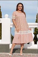 Платье женское на подкладке с кружевом Минова 50-52