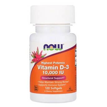 Витамин D3, NOW Foods Vitamin D3 10 000 IU 120 мягких капсул