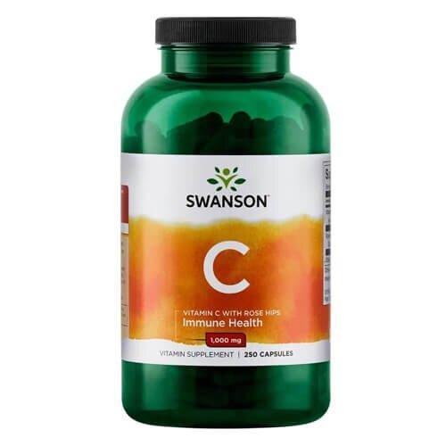 Витамин С, Swanson Vitamin C with Rose Hips 1000 mg 250 таб