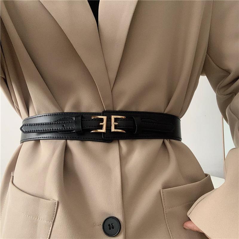 Ремень женский широкий эко-кожаный пояс на талию черный с двумя пряжками