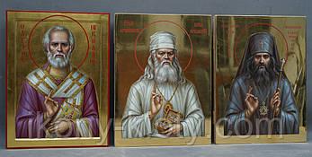 Писаные иконы на заказ: Святой Николай Чудотворец, святитель Лука Крымский, святитель Иоанн Шанхайский.