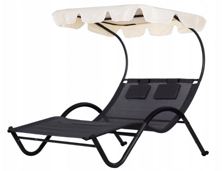 Шезлонг-лежак двухместный садовый Goodhome черный