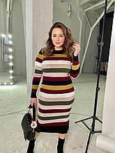 Яркое вязаное платье Резинка оливка (42-56)