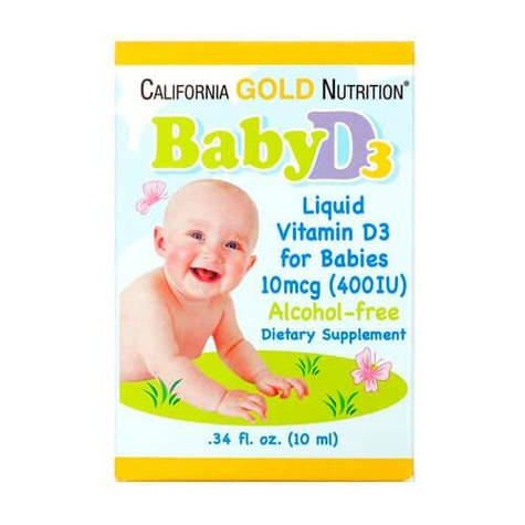 Витамин D3 в каплях для детей, California Gold Nutrition Baby Vitamin D3 400 IU 10 мл